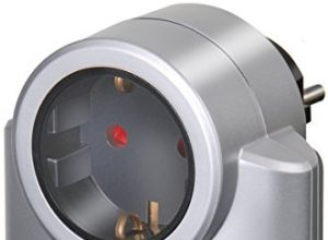 Brennenstuhl Primera-Line, Steckdosenadapter mit Überspannungsschutz Adapter als Blitzschutz für Elektrogeräte Farbe: silber/schwarz