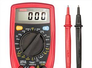 Etekcity MSR-R500 Digital Multimeter Spannungsmesser Spannungsprüfer Strommessgerät Voltmeter zum Messen von Gleichstrom Gleich-und Wechselspannung Widerstand Durchgang mit Batterie und 2 Messleitungen, Rot-Schwarz