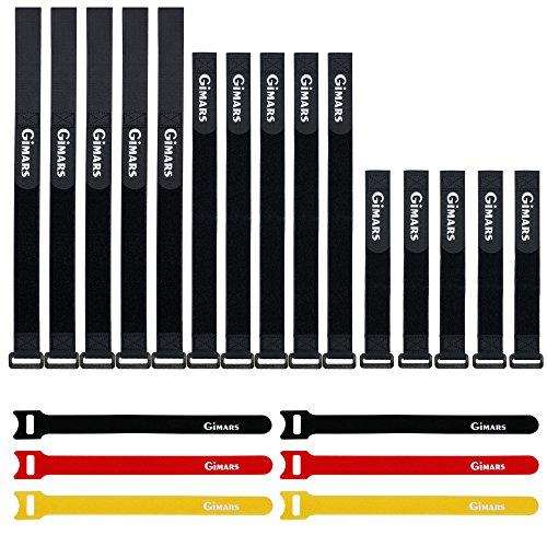 verschiedene Längen und Farben – GIMARS 21 Stücke Wiederverwendbare Klettkabelbinder Befestigung Klett Kabelbinder Klettverschluss Klettbänder mit Schnalle