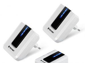 Türklingel ,TeckNet Portable Mobile Kabellose, 2 Empfänger 1 Sender, Kabellose Wassergeschützte Tür Klingel und Klingelknopf, mit LED Anzeige