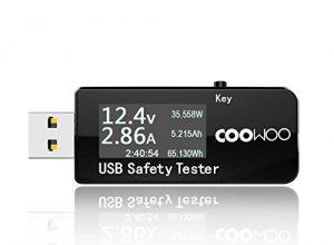 COOWOO Digital-Multimeter, Amperemeter Voltmeter Kapazität & Wattmeter, Multi-Tester, Ampere Spannung Leistungsmesser, Überladeschutz, Ladesystem und AkkuTester für Powerbank