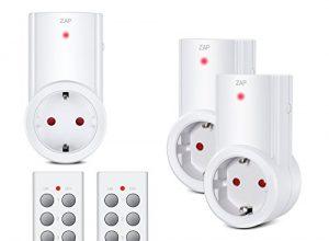 Etekcity Funksteckdosen Set aus 3 x Funksteckdose mit 2 x Fernbedienung, Funkschalt Set Selbstlern-Funktion, 2300 Watt
