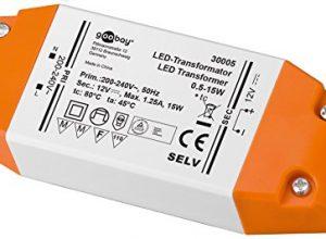 LED-Transformator 230V AC auf 12V DC für 0,5 bis 15 Watt LED-Lampen