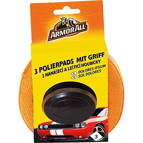 ARMOR ALL 3 Polierpads mit Griff GAA40067GC, für gleichmäßiges Autragen + saubere Hände