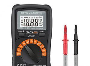 Tacklife DM02A Klassisches Digital Multimeter Auto Range Multi Tester mit Non Contact Voltage zum Messen von GleichDC – und WechselAC-Spannung, Strom, Dioden sowie Widerstand mit Hintergrundbeleuchtung  Rot/ Schwarz