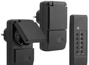 1100 Watt – Plug & Play – 2 x Funksteckdose für Aussen + 1 x Fernbedienung – mumbi 2er Set Outdoor Funksteckdosen