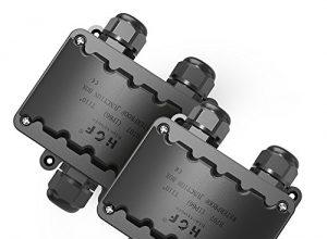 2er pack Abzweigdose, BearMoo IP66 wasserdicht Kabelverbinder aussen, größere 3-Wege-Verbindungsdose Erdkabel Schwarz elektrischer Außenverteilerdose, M20 Kabelverschraubung Ø 9mm-14mm ABS + PVC …