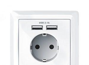 Steckdose mit 2 x USB-Port + Abdeckung | Schutzkontakt-Steckdose | USB mit Smart-IC für optimale Ladeströme Android/Apple | bis zu 2100mA Ausgangsstrom USB | integrierte Kindersicherung – Brandson