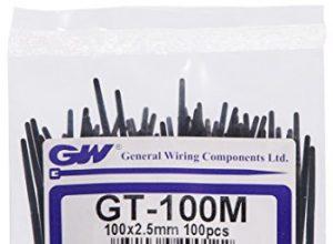 GW Kabelbinder-Technik, Kabelbinder 100 x 2,5 mm, schwarz, 100 Stück, GT-100MBC