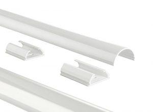 Hama Kabelkanal Alu Aluminium, halbrund, 110 x 3,3 x 1,8 cm, bis zu 5 Kabel, 4 Halteclips weiß