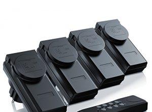 Outdoor Funksteckdosen-Set 4+1 für den Außenbereich Outdoor| 4x Funkschalter-Steckdosenset | 1x Fernbedienung | Kindersicherungsschutz | hohe Funkreichweite von ca. 25m | IP44-Norm für Außenbereich | schwarz – Arendo