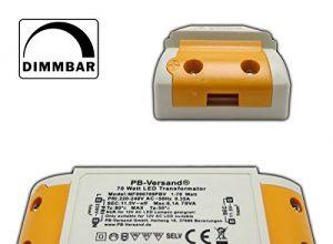 Transformator – Hochleistungstrafo für G4, GU5.3, MR16, MR11 Spots und mehr – Mini LED Trafo 1 – 70 Watt 12V~ AC