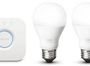 Philips Hue White E27 LED Lampe Starter Set, zwei Lampen inkl. Bridge, dimmbar, warmweißes Licht, steuerbar via App, kompatibel mit Amazon Alexa Echo, Echo Dot