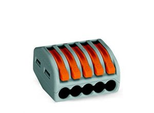 WAGO 222-415 Verbindungsklemme, 5 Pole, wieder lösbar,1er Pack 1 x 40 Stück