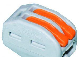 WAGO 222-412 2×0,08-2,5mm² grau Verbindungsklemmen mit Betätigungshebel, 50 Stück