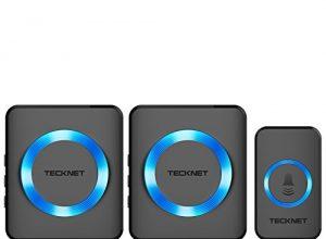 TeckNet Funk Türklingel Kit, Schnurlose Türklingel, 259m Reichweite, Plug In für Die Steckdose, Klingel und Klingelknopf Mit LED Anzeige