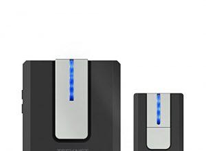 TeckNet Funk Türklingel Kit, Schnurlose Türklinge, Mit 52 Melodien, 300m Reichweite, Plug In für die Steckdose, Klingel und Klingelknopf mit LED Anzeige