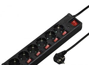 Hama Steckdosenleiste 6-fach, 1,4m, einzeln schaltbar, beleuchtete Schalter, Überspannungsschutz schwarz