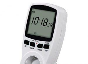 Hama Digitale Zeitschaltuhr Premium mit Kindersicherung, Zufallsfunktion, extra großes und unbeleuchtetes Display weiß