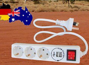 3 fach Reiseadapter für Australien, Neuseeland, Argentinien, Papua-Neuguinea, Uruguay, mit 2 zusätzlichen USB Ladeschächten. Die geniale Erfindung!