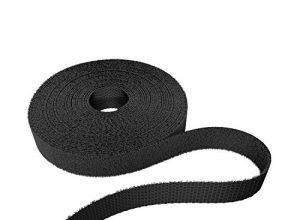 KabelDirekt 12,5mm x 5m Klett Kabelbinder, Rolle für Kabel, frei zuschneidbar, schwarz