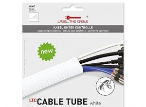 Label-the-cable Kabelschlauch, Kabelschutz, Kabelkanal: gewebter Kabelmantel, Selbstschließend, Zuschneidbar, sehr Flexibel und Robust/ LTC Cable Tube wt, 1 Stück, 2 m, Weiß, LTC 5120