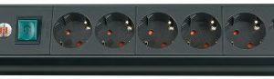 45° Winkel der Schutzkontakt-Steckdosen Farbe: schwarz – Brennenstuhl Premium-Line, Steckdosenleiste 6-fach Steckerleiste mit Schalter und 3m Kabel