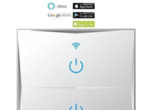 Smart Home Wand-Lichtschalter 2-Gang, WiFi berührungsempfindlich, Glasoberfläche, Fernbedienung-Lichter, funktioniert mit Amazon Alexa Echo/Google Home, unterstützt Android und IOS APP, weiß