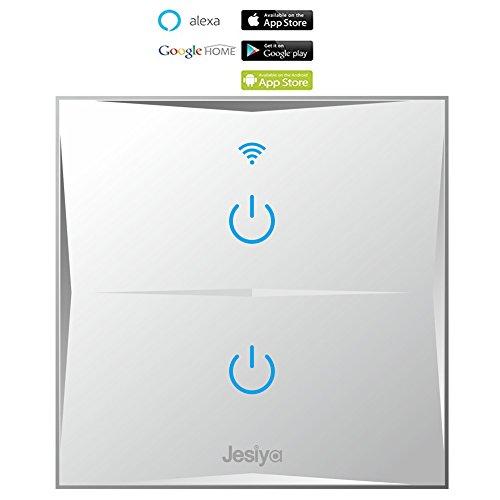 smart home wand lichtschalter 2 gang wifi ber hrungsempfindlich glasoberfl che fernbedienung. Black Bedroom Furniture Sets. Home Design Ideas