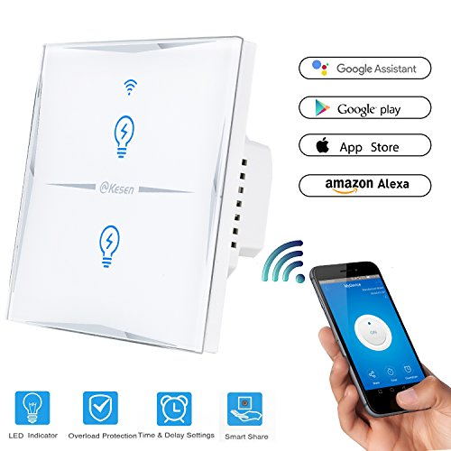 Smart WiFi Touch Switch Panel Lichtschalter Wandschalter Alexa APP Fernbedienung