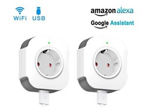 WiFi Smart Steckdose, WLAN Smart Plug funktioniert mit Amazon Alexa und Google Home, USB Port, Timing Funktion, Fernbedienung Ihre Geräte überall,kein Hub erforderlich 2 Pack