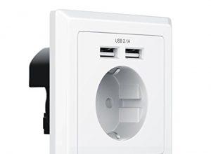 CSL – Steckdose mit 2 x USB   Schuko-Schutzkontakt-Steckdose   USB mit Smart-IC für optimale Ladeströme   bis zu 2100mA Ausgangsstrom   integrierte Kindersicherung