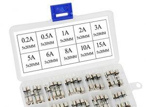 Aussel 100 Stück M5x20MM Glaspatrone Sicherung Fast Glow Tube Sicherung Sortiment Kit 0.2A-15A