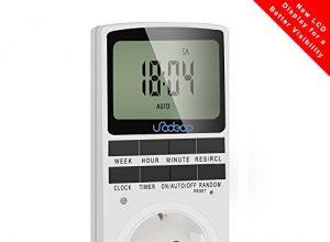 Digitale Timer, Zeitschaltuhr Täglich/Wöchentlich mit LCD-Bildschirm, 12/24H, 7 Tage, klassische Stromversorgung, energiesparend,Unodeco U002