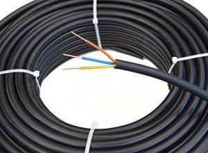 Starkstromkabel 3×1,5 mm², 50m 3 adriges Erdkabel in schwarz, NYY-J, PVC Mantel, Stromkabel für feste Verlegung und Installation in Trockenräumen • Feuchträumen • Erdreich • Mauerwerk und Beton, elektrisches Kabel für 600V/1000V
