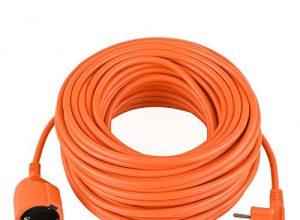 DECKEY Strom Verlängerungskabel Schuko 10m Verlängerungskabel mit Schutzkontakt IP20 Innenbereich Orange