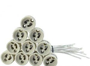 Evolution GU10 Fassung Sockel Keramik mit Qualitäts 0,75mm² Silikonkabel für LED und Halogen 10er Set