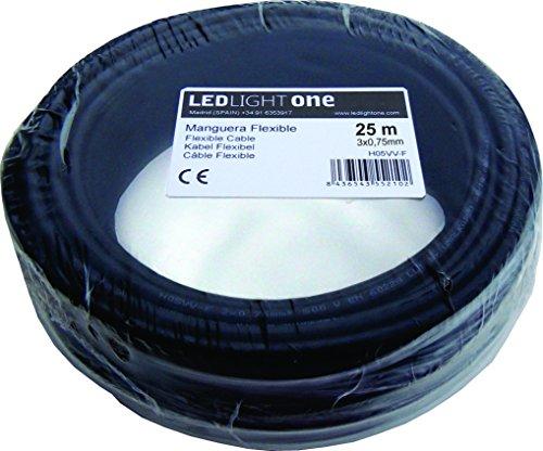 Kabel H05VV-F 3 x 0,75 mm 25 m Schlauch schwarz – Otaggle