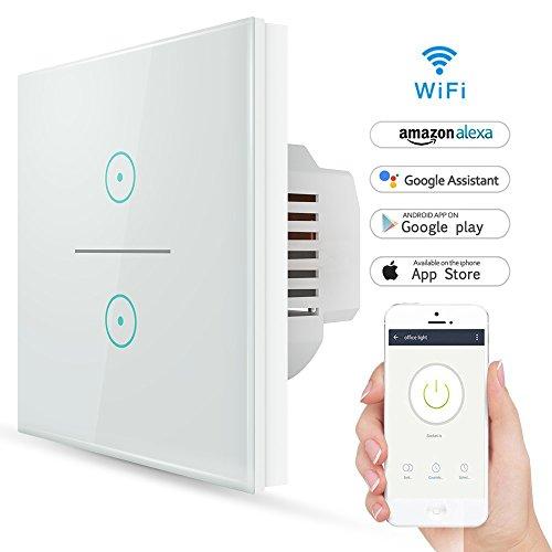 Wifi Smart Lichtschalter,LYASI gehärtetes Glas Touch-Screen WLAN ...