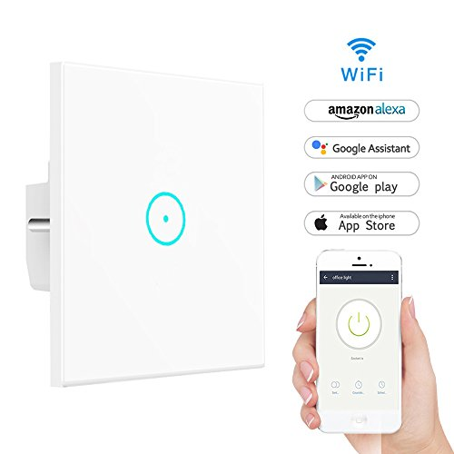 wifi smart lichtschalter lyasi geh rtetes glas touch screen wlan lichtschalter arbeit mit alexa. Black Bedroom Furniture Sets. Home Design Ideas