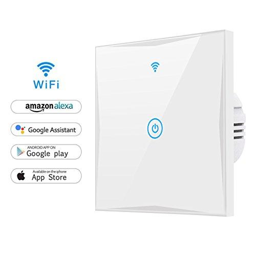wifi smart lichtschalter mamyok wlan in wall geh rtetes glas touchscreen schalter arbeitet mit. Black Bedroom Furniture Sets. Home Design Ideas