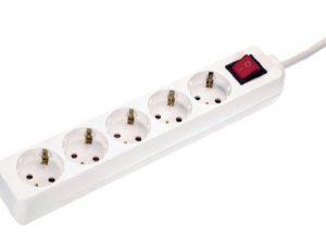Schwabe 35011 Steckdosenleiste 5-fach mit Schalter und Kinderschutz, weiß, 1,4m H05VV-F 3G1,5, IP20 Innenbereich – as