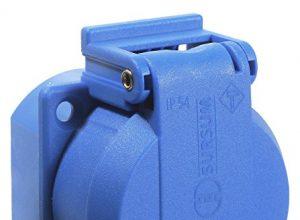 as – Schwabe Schutzkontakt-Einbaudose mit Klappdeckel IP 54, 230 V, blau, 45085