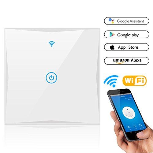 smart lichtschalter wifi lichtschalter geh rtetem glas touchscreen kompatibel mit alexa und. Black Bedroom Furniture Sets. Home Design Ideas