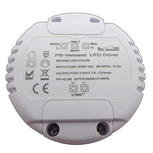 Dimmbarer LED Trafo 12V DC 1-20 Watt rund Netzteil dimmbar Treiber ...