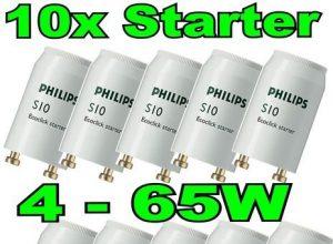 10 Stück Phillips S10 Ecoclick Starter für Leuchtstoffröhren von 4-65 Watt