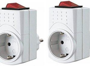 Zwischenstecker Steckdose mit Schalter 2er Set – Steckdosenadapter und Schaltsteckdose zum praktischen Ein- und Ausschalten der angeschlossenen Geräten – Steckdosen Schalter spart Strom