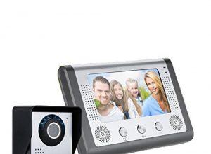 FLOUREON Video-Türsprechanlage Digitales Türklingel-Kit Komplett-Set Kamera Türklingeln-Türtelefon mit 7 Zoll TFT/LCD Monitor, 1 HD Kamera, IR-Cut, Wasserdicht, Nachtsicht