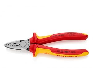 Knipex 97 78 180 – VDE-Crimpzange mit Halbrundprofilen für Aderendhülsen