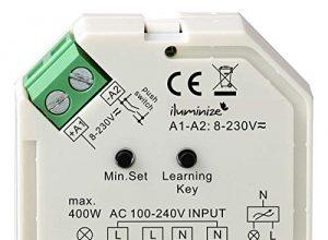 iluminize Funk Dimm-Aktor Mini, 1 x 230V, 200W / 400W, dimmen per Funk mit iluminize Hand-Fernbedienung, Wand-Dimmer, Desk-Dimmer oder WiFi-Bridge, WICHTIG: nicht Zigbee 3.0 kompatibel Dimm-Aktor